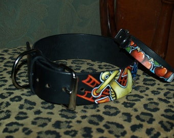 Tattoo leather dog collar 1X and 2 XL Nautical 2 inches wide