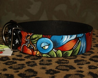 Tattoo leather dog collar 1X and 2 XL SPARROW Nautical 2 inches wide can be made in ANY Size