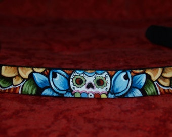 Tattoo Leather dog collar skull dice rose swallow X-SMALL handpainted