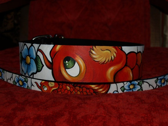 1 Tattoo Leather dog collar 2 inches wide to fit 14-18 in neck KOI