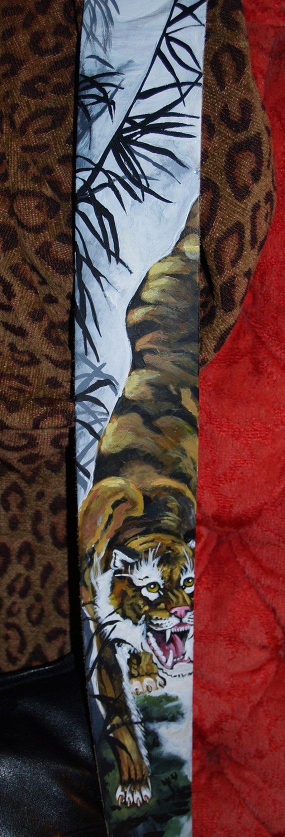 Tattoo Custom Asian TIGER guitar strap moon bamboo Hand made