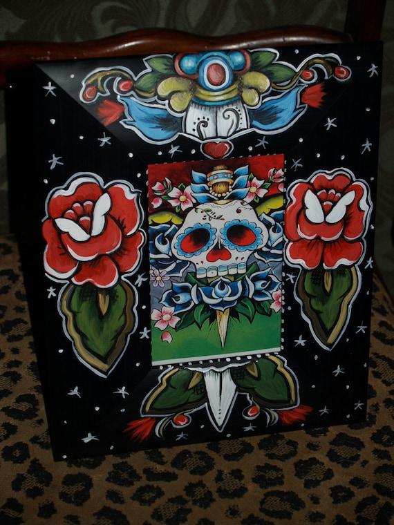 Tattoo FRAME sailor SKULL Day of the dead Frame Kahlo DAGGER handpainted