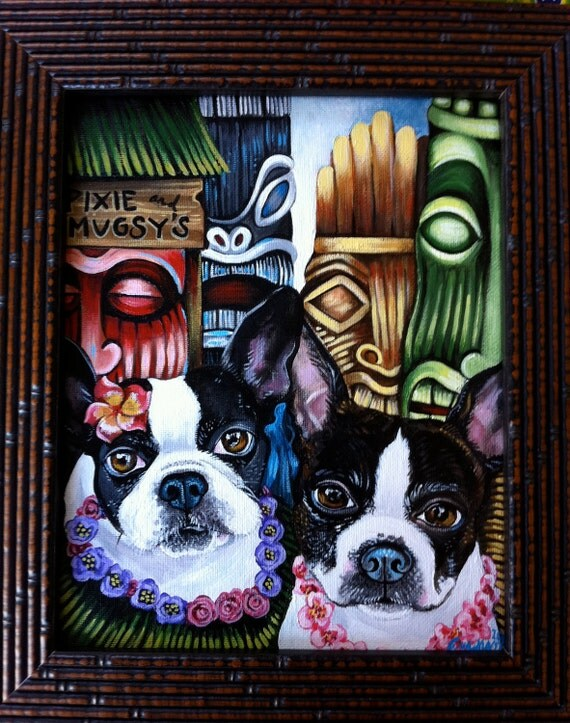 Custom commission TIKI DOG portrait Painting 8 x 10 acrylic oIL of your pet any pet