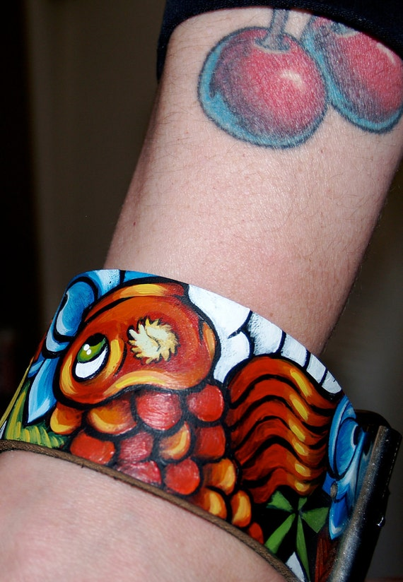 Tattoo Leather cuff Companion Cuff bracelet koi sparrow cherries banner