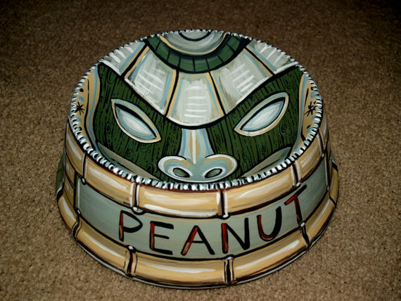 Tattoo dog bowl TIKI ceramic hand painted totem green food safe retro
