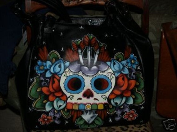 Tattoo Skull Diaper bag Day of the Dead handbag HUGE Roses RaRe