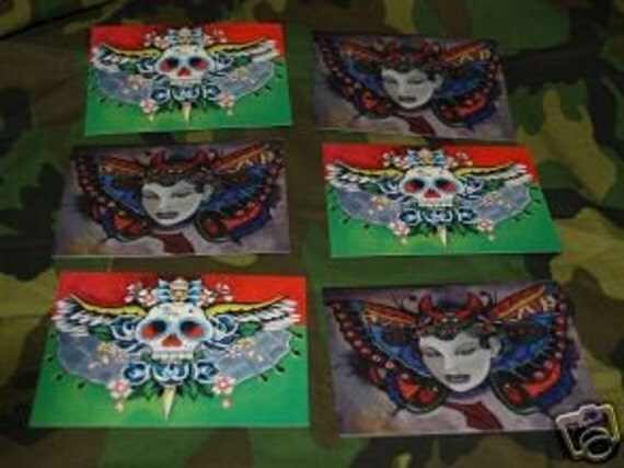 6 Skull Day of the Dead Skull and Pin Up POSTCARDS Skull with Wings Dagger Rockabilly