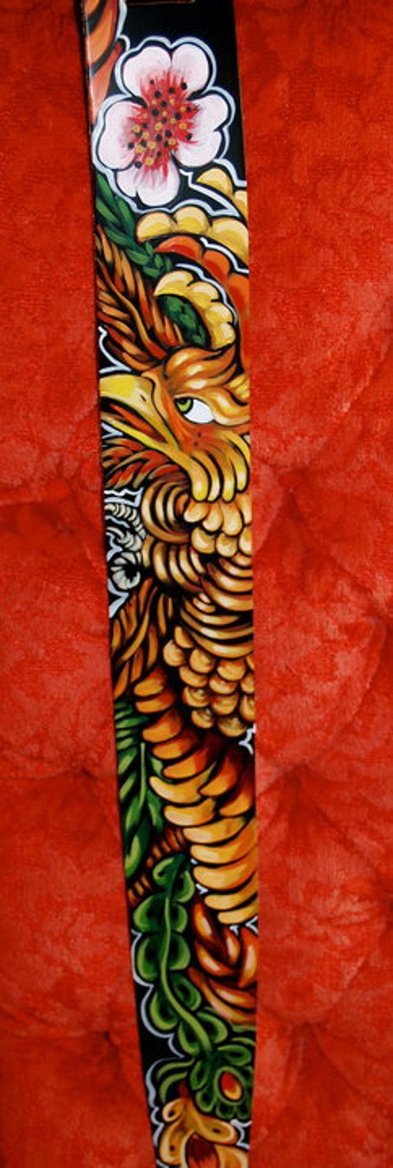 Tattoo leather Guitar STRAP hand painted phoenix Rockin one of a kind