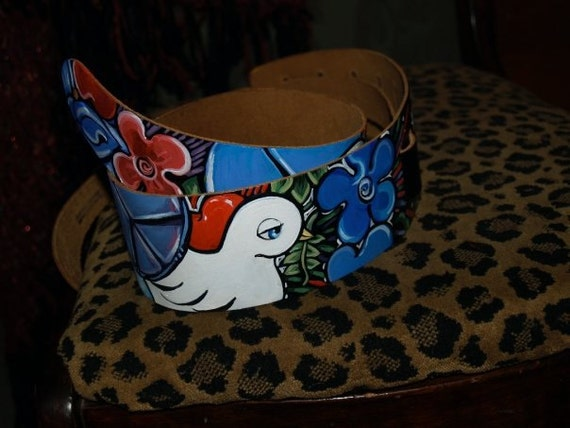 TATTOO leather Guitar STRAP handpainted peace love dove 60's