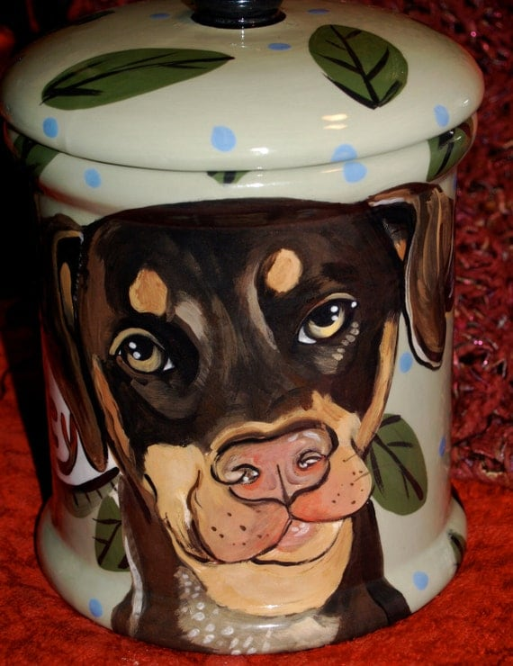 Tattoo Ceramic Cat treat Canister doberman all breeds COOKIE JAR custom ANY breed large