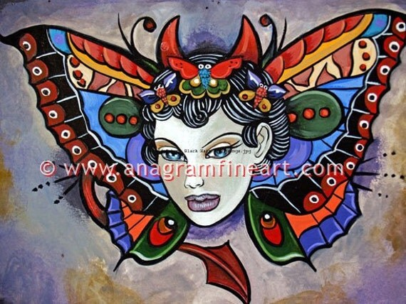 Ltd.edition Tattoo print signed and numbered Girl with butterfly wings
