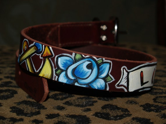 Tattoo leather dog collar LUCKY rose anchor Nautical 24 in XL