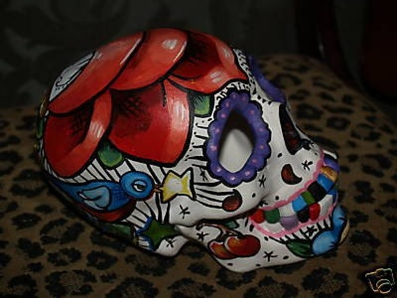 Day of the Dead Skull Head Bisque handpainted roses Sparrows stars