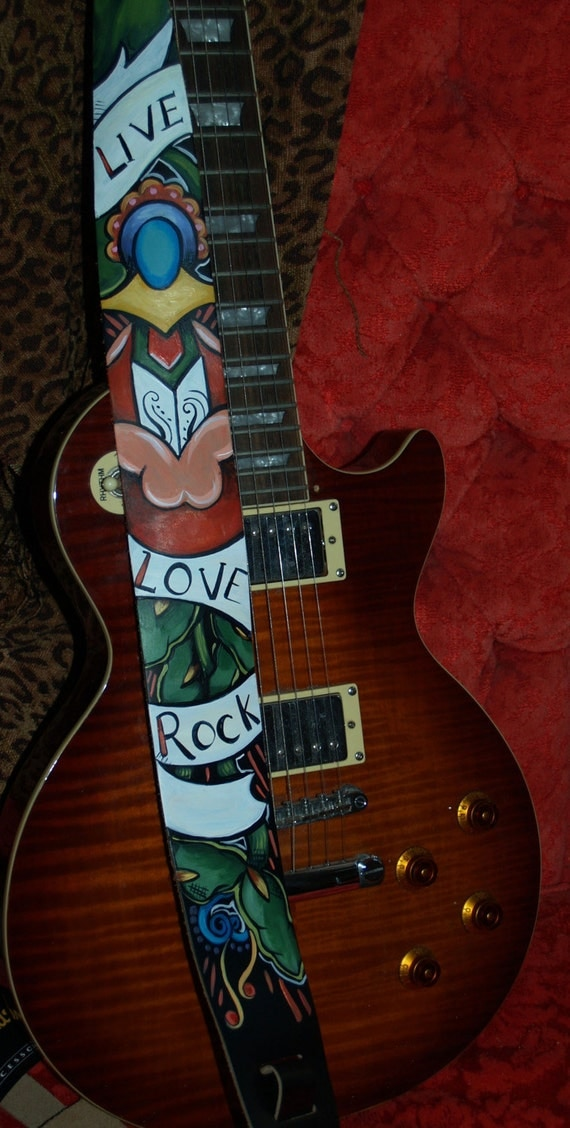 Tattoo Leather Guitar strap Dagger ROSE LIVE LoVe ROCK