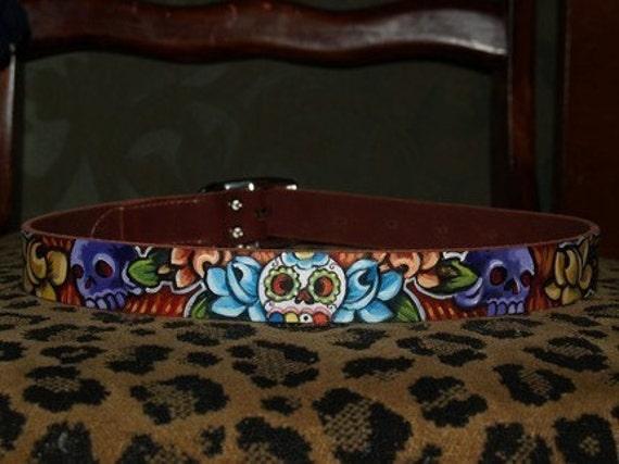 Tattoo leather dog collar Dia de los muertos skulls tobacco leaves handpainted 19 inches