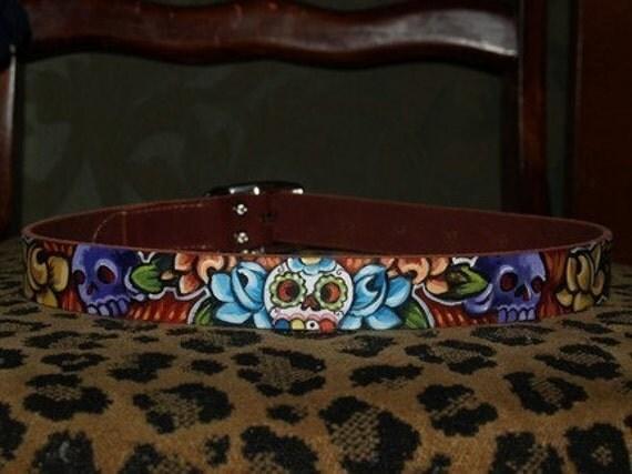 Tattoo leather dog collar Dia de los muertos skulls handpainted 16 inches