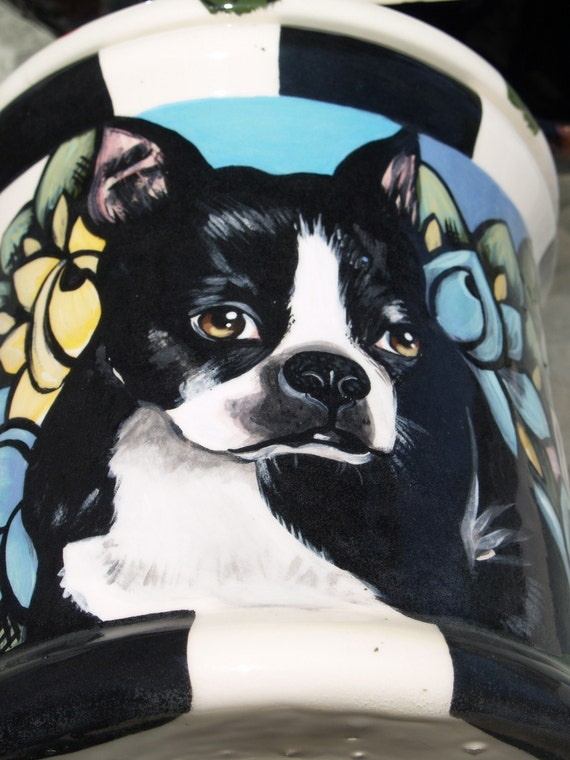 Tattoo Ceramic Doggie treat Cannister COOKIE JAR custom ANY BREED LARGE