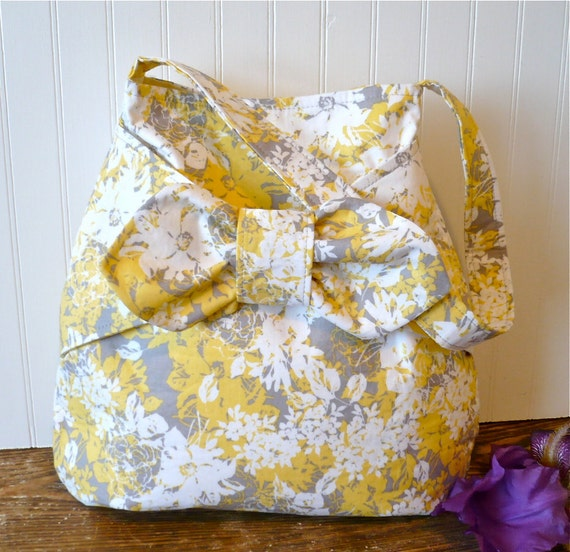 SALE....Gray and Yellow Everday Hobo Bucket Bag with Bow Detail Ready to Ship