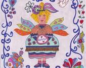 Fairy Print Whimsical Folk  Art Of Gentle, Fantasy, Fairytale, Pixie, Vibrant Colors, Enchanted, Bunny Rabbit, Heart Magic, Bird, Flowers