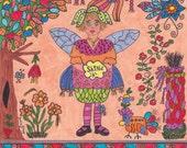 Fairy Print Folk Art Whimsical SHINE, Fantasy, Magic, Enchanted, Vibrant Colors, Bird, Hen, Flowers, Trees, Fairytale, Pixie
