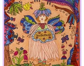 Fairy Print Folk Art Whimsical TENDERNESS, Fantasy, Fairytale, Magic, Enchanted, Vibrant, Colorful, Butterfly, Flowers, bird, whimsical