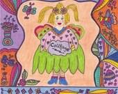 Fairy Print Folk Art Whimsical Of Courage, Magic, Fantasy, Fairytale, Enchanted, Bird, Butterfly, Flowers, Vibrant, Colorful, Pixie, Retro
