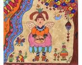 Fairy Art Print Folk Whimsical Imagine, Magic, Enchanted, Fairytale, Turtle, Vibrant Colors, Bird House, Butterfly, Pixie, Fantasy, Flowers