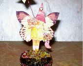 Wish Fairy OOAK, assemblage, outsider art, 3d, paper collage, mixed media, altered, magic, fantasy, enchanted, fairytale