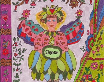 Fairy Print Folk Art Whimsical DREAM, Fantasy, Magic, Fairytale, Enchanted, Vibrant Colors, Kitty Cat, Flowers, Heart, Pixie