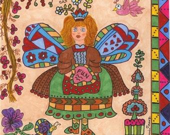 Fairy Print Folk Art Whimsical Of Fun, Fairytale, Fantasy, Enchanted, Colorful, Vibrant, Snail, Pixie, Magic, Bird, Topiary,  Flowers,