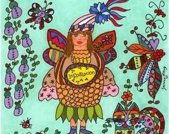 Fairy Print Folk Art Whimsical of INSPIRATION, Fantasy, Fairytale, Pixie, Kitty Cat, Magic, Enchanted, Vibrant, Colorful, Flowers, Butterfly