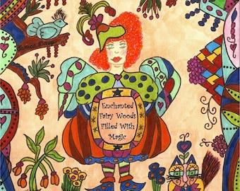 Fairy Folk Art Print, Whimsical, Enchanted Fairy Woods, Fairytale, Fantasy, Magic, Unity, Vibrant Colors, Kitty Cat, Bird, Pixie, Flowers