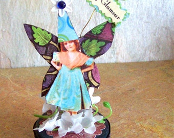 Fairy GLAMOUR, OOAK, mixed media original, altered art, collage, assemblage, 3d, fairytale, fantasy, magic, enchanted