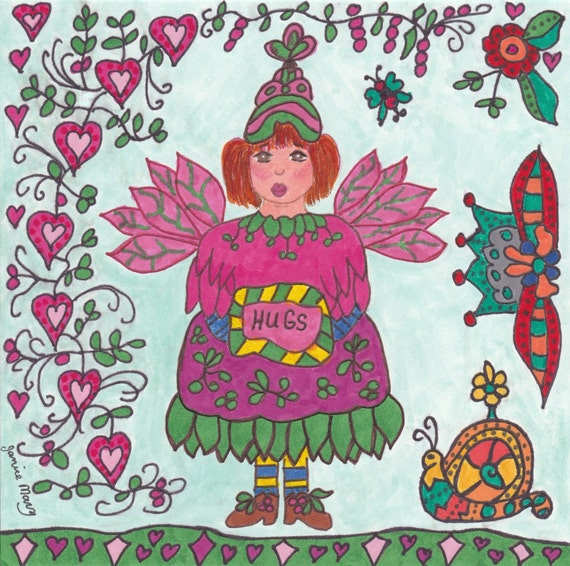 Fairy Print Folk Art Whimsical HUGS, Enchanted, Fantasy, Magic, Folkart, Fairytale, Snail, Vibrant, Colorful, Pixie, Flowers, Butterfly