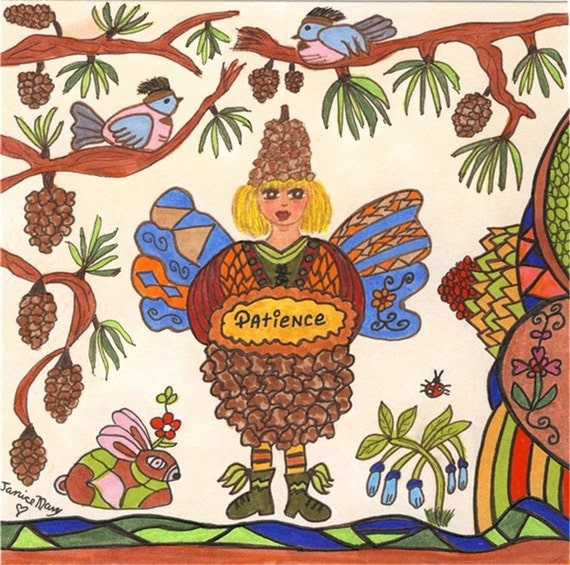 Fairy Print Folk Art Whimsical PATIENCE, Fantasy, Magic, Enchanted, Folkart, Vibrant, Flowers, Fairytale, Birds, Pixie, Ladybug, Bunny
