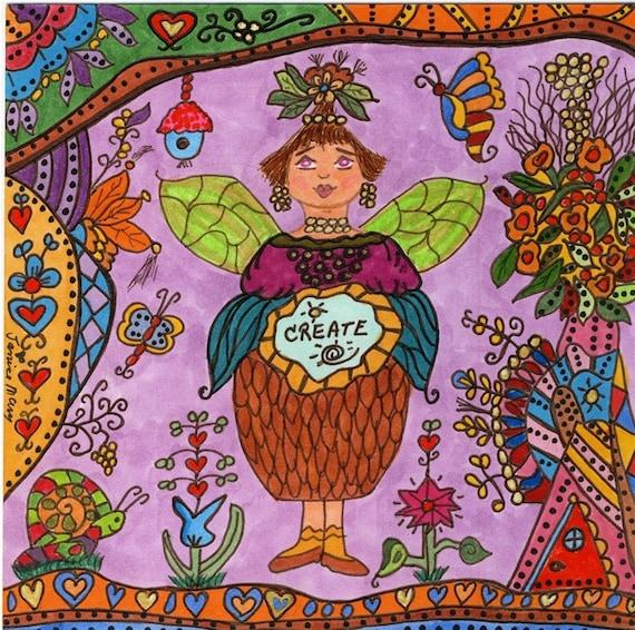 Fairy Print Folk Art CREATE Whimsical, Enchantment, Magic, Fantasy, Fairytale, Vibrant Colors, Snail, Bird House, Butterfly, Flowers, Pixie
