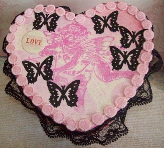 Angel Heart Box, Art Cards,Trinket, Vintage, Treasure, Victorian, Assemblage, Altered, OOAK, Butterflies, Pink, Black, Sparkle, Embellished