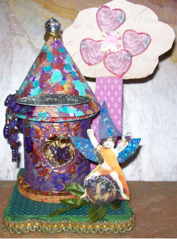 Fairy Cottage Live Laugh Love, fairytale, ooak, assemblage, altered art, collage, mixed media, fantasy, magic, enchanted, embellished, pixie