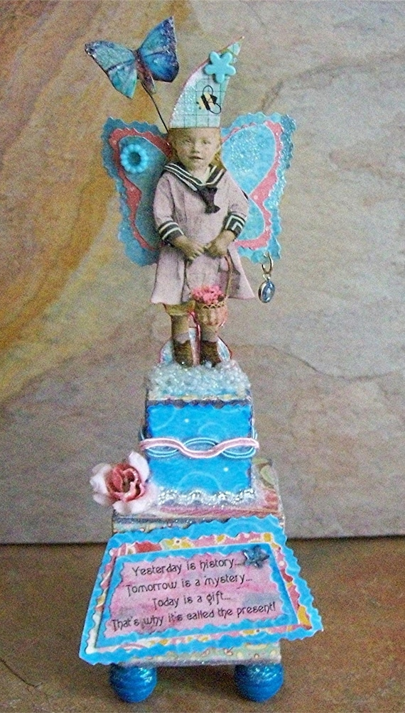 Today Is A Present Fairy Tower, OOAK, Assemblage, Mixed Media, Collage Outsider Art, Altered, Fairytale, Enchanted, Fantasy, Magic