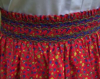 Vintage Handmade Boho Hippie Flower Power Smocked Skirt
