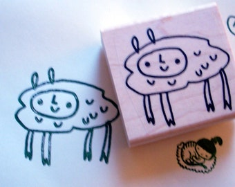 cloud foot - rubber stamp
