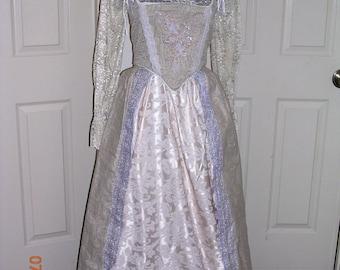 Silver paisley Renaissance Gown