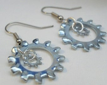 Hardware Earrings -  Lock on Tight Mama and Baby with Sterling Silver Ear Wires