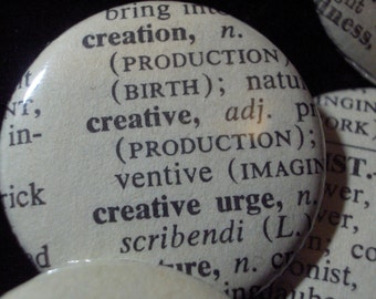 Vintage Dictionary Custom Button - You Pick the Word From the List
