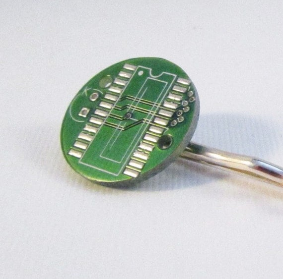 Round Circuit Board  Smart Girl Hair Pin