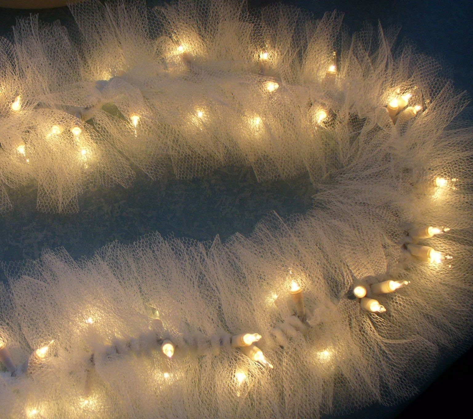 Tulle String Lights Diy : Ivory TULLE NETTING on Mini String Lights by Nancianne514 on Etsy