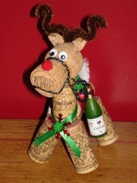 Rudolph the Rednosed Reindeer, Decorative Wine Cork Sculptural Ornament