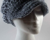 Crocheted Chenille Newsboy Style Ladies Hat - Dusty Blue