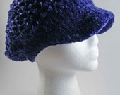 Crocheted Chenille Newsboy Style Ladies Hat - Monarch