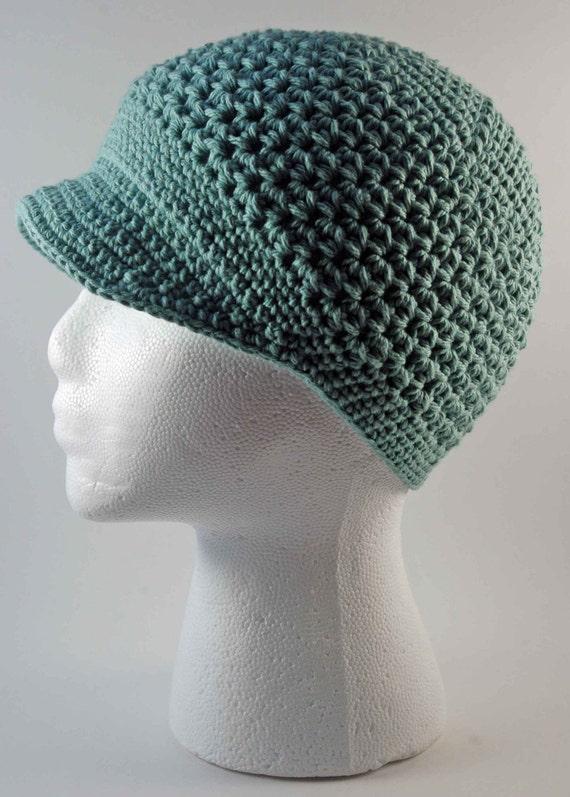 Crocheted Newsboy Style Cap Seaspray by lilreb673 on Etsy